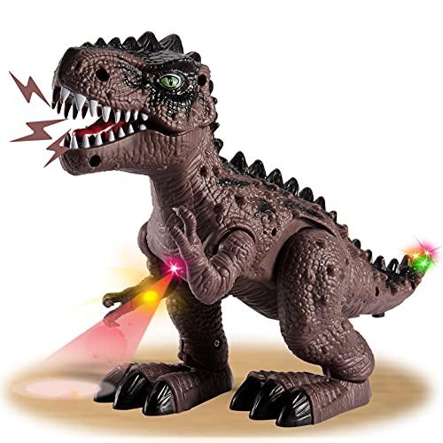HYAKIDS Dinosaurios Juguetes para Niños, Eléctrico Realistas Figuras de Dinosaurios T-Rex con LED Luz y Sonido, Proyección, Caminando Juegos Dinosaurios para 3 4 5 Años