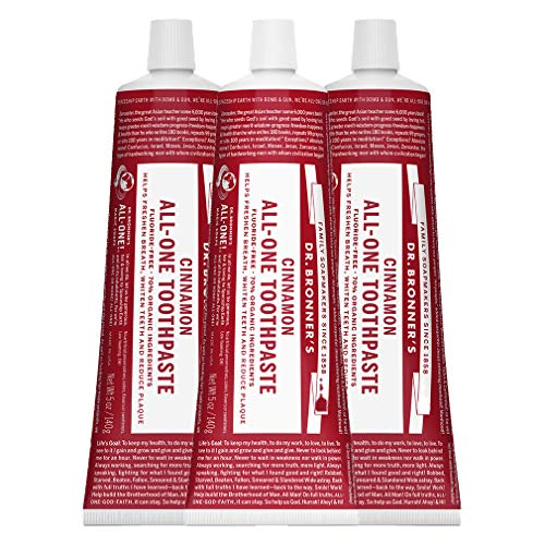 Dr. Bronner's - All-One Toothpaste (Cinnamon, 5 ounce) - 70% Organic Ingredients, Natural and Effective, Fluoride-Free, SLS-Free, Helps Freshen Breath, Reduce Plaque, Whiten Teeth (5 Ounce, 3-Pack)