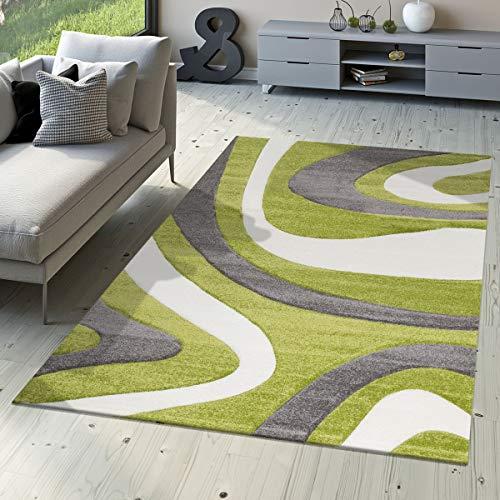 T&T Design - Morbido tappeto moderno a pelo corto per soggiorno camera da letto sala da pranzo motivo a onde disponibile in diversi colori Colori e taglie, Gruen, 160 x 230 cm