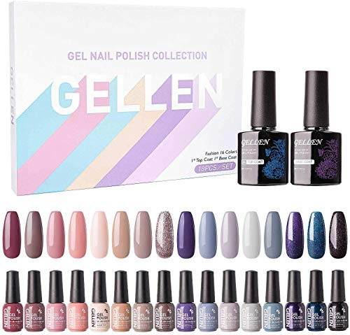 Gellen Vernis Semi Permanent - 18pcs Lot Manucure 16 Couleurs Plus Top Base Vernis à Ongles Vernis Gel UV LED Nail Polish Vernis Soak Off Kit 05