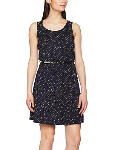 ONLY Damen Kleid Onllia Lace S/L Dress Jrs, Mehrfarbig (Dark Navy Aop:Small Cd Dots), 36 (Herstellergröße: S)