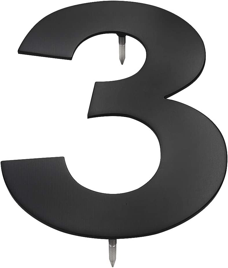 McKay Metals 10 Inch High Modern Floating House Numbers-Premium, Designer Quality Stainless Steel Home/Business Address Number| Easy to Install, Black Matte Finish| Distinctive Exterior (3)