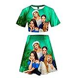 BESTHOO Unisexe Blackpink Sweats à Capuche T-Shirt Manches Courtes décontracté Simple + Tailleur Jupe imprimée à la Mode (Color : A04, Size : XS)