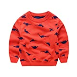 Anbaby Little Boys Children's Double-Deck Cartoon Dinosaur Pullover Sweaters Orange 5T