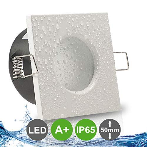 AQUA BASE IP65 1er Set ultra flach LED 5W = 50W 230V Decken Einbaustrahler eckig Weiß Neutralweiss 4000k nur 50 mm Einbautiefe Bad Feuchtraum Einbauleuchte quadratisch