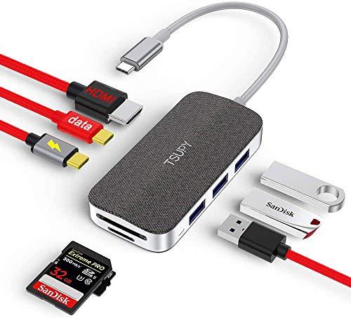 TSUPY HUB USB C Data Hub,100W Power Delivery Carga,Adaptador Tipo C y HDMI 4k, 3 Puertos USB 3.0,Lectores de Tarjetas SD/TF Compatibles con MacBook,DELL,Lenovo,Samsung,Huawei,Xiaomi