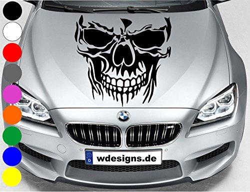 wDesigns Autoaufkleber Totenkopf Skelett Skull Aufkleber Motorhaube Sticker Heckscheibe (schwarz)