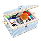Medium Sewing Basket Organizer with Complete Sewing Kit Accessories Included, Sewing Baskets with...