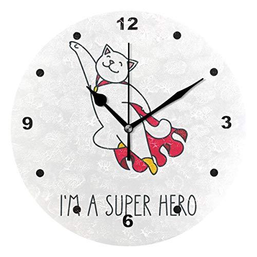 SUNOP Uhr für Kinder, Öldruck, 1 Ich Bin EIN Superheld, Wanduhren für Wohnzimmer, Schlafzimmer und Küche, Vintage Schreibtisch & Regal Uhren