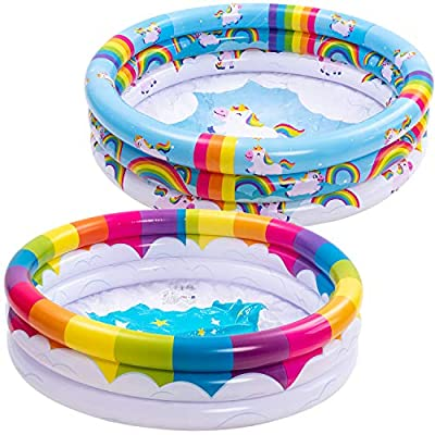 JOYIN Inflatable Kiddie Pool, Rainbow Unicorn 3 Ring Summer Fun Swimming Pool for Kids, Water Pool Baby Pool for Summer Fun, 47 inches, for Ages 3+