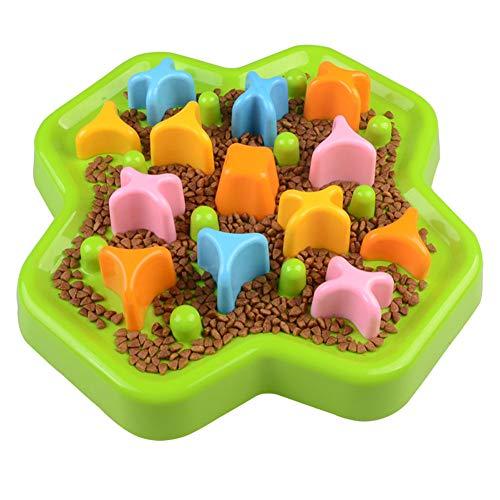 RYDRQF Hond Langzame Feeder Bowl, Duurzaam Voorkomen Verstikken Gezond Ontwerp Honden Katten Bowl, Huisdier Antislip Plezier Eten Bowl, Huisdier Roterende Speelgoed Langzame Voedselschaal, Groen