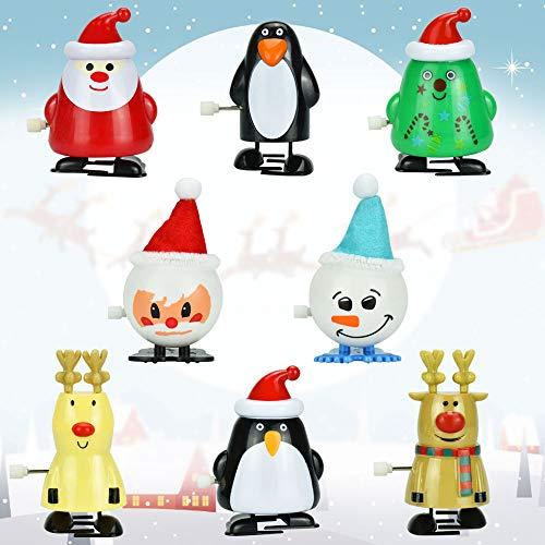 TANCUDER 8 Stücke Kinder Aufziehspielzeug Weihnachten Uhrwerk Spielzeug ABS Weihnachten Aufziehspielzeug Wind Up Figur Aufziehfigur Weihnachten Deko Figuren für Kinder
