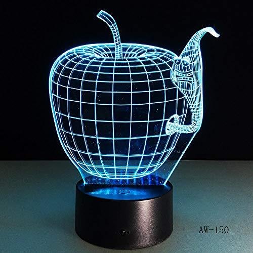 Korea Cartoon 3d Apfel und Wurm Form bunte Led Nachtlampe,ändernde Farben Touch-Schalter für Home Decor Geschenk