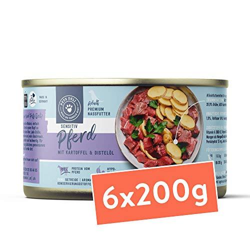 Nassfutter für Hunde | Pferd mit Kartoffeln und Distelöl | 1,2 kg - 6er-Pack