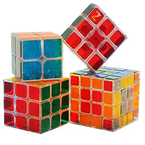 RENFEIYUAN Ziemlich transparent MA 4 Pack-Set von 2x2 3x3 4x4 1x3x3 professionelles 3D-pädagogisches Spielzeug für Erwachsene oder Kinder magischer würfel