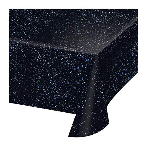 Creative Converting 725533 Space Blast All Over Print Plastic Tablecover, 54 by 108', Black