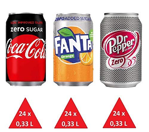 Zuckerfrei Paket: 24 x Cola Zero 24 Fanta Zero 24 x Pepper Zero (72 Dosen x 0,33L) EINWEG inkl gratis FiveStar Kugelschreiber (Europa)