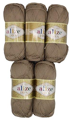 Alize 5 x 100 Gramm Wolle Diva Batik Sand Taupe Nr. 167, 500 Gramm merzerisierte Strickwolle