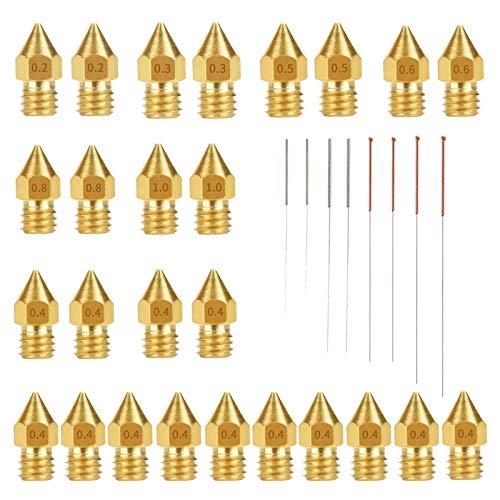 solawill Ugelli Per Stampante 3D,26 Pezzi Ugello in Ottone Stampante 3D 0.4mm Ugelli Estrusore MK8 + 7 Pezzi Aghi di Pulizia Ugello in Acciaio Inossidabile per Makerbot Creality Ender 3 CR-10