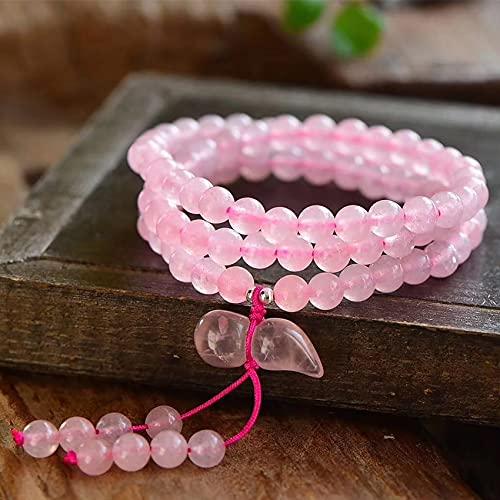 Natural Feng Shui curación Pulsera de Cristal 7a Lucky Wu Lou Charm Balance Brazalet Multi-Giro Rosa Cuarzo Joyería Amuleto Atrae el Dinero Prosperidad Suerte
