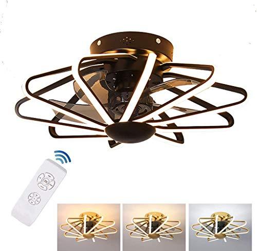 RUIXINBC Ventilador de Techo con iluminación, luz de Techo del LED Ventilador de Techo con luz y Distancia de atenuación, Habitación Sala decoración del Techo de luz,Marrón