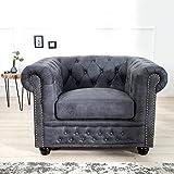 CAGÜ - EDLER DESIGNKLASSIKER Sessel [Winchester] GRAU aus Kunstleder im KLASSISCH ENGLISCHEN Chesterfield-Stil, NEU!