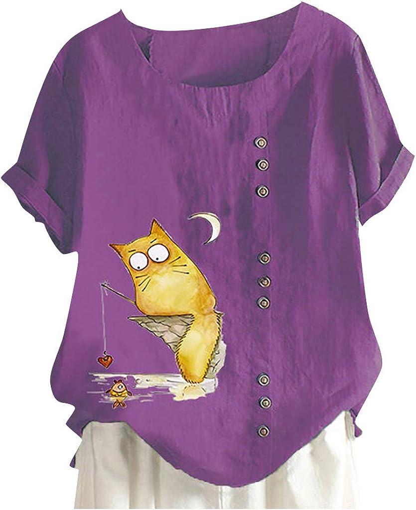 ZSBAYU Casual Womens Cute Cat Miami Mall Print Summer Tu Linen Short Sleeve New arrival