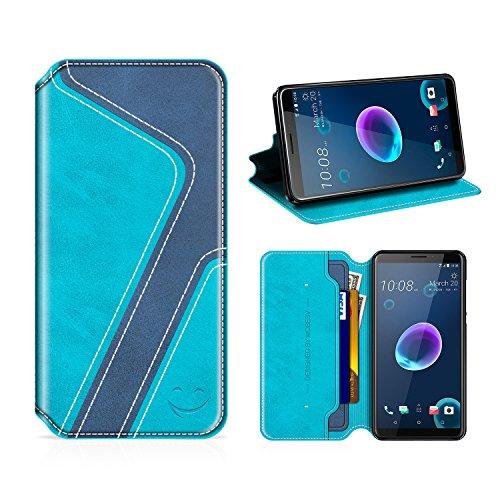 MOBESV Smiley HTC Desire 12 Hülle Leder, HTC Desire 12 Tasche Lederhülle/Wallet Hülle/Ledertasche Handyhülle/Schutzhülle mit Kartenfach für HTC Desire 12, Aqua/Dunkel Blau