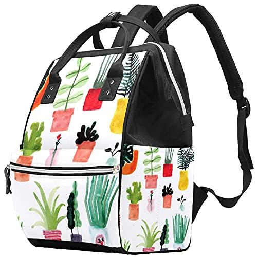 Yuelai Borsa per pannolini Zaino Zaino per laptop Zaino da viaggio per donna, motivo cactus colorato