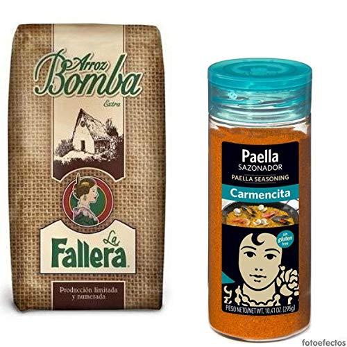 500 gr. Riso bomba La Fallera + Paellero Carmencita: Miscuglio di spezie con zafferano per Paella