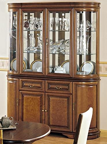 Casa Padrino Armario de Comedor de Lujo marrón 159,5 x 42 x A. 212,5 cm - Armario de Cocina de Madera Maciza - Vitrina de 2 Partes - Muebles de Comedor de Madera Maciza de Lujo