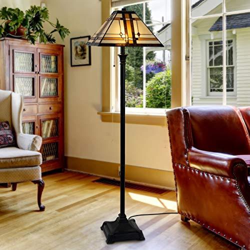 Lavish Home 72-Tiff-6 Tiffany Style Floor Lamp – Mission Design Art Glass Lighting 2 LED Bulbs Included-Vintage Look…