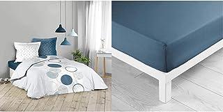 Douceur d'intérieur Parure 3 pièces 240 x 220 cm Voie lactee & 1642642 Drap Housse 2 Personnes, Coton, Bleu Nuit, 140 x 19...