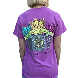 Southern Attitude Triple Pineapple Radiant Orchid Short Sleeve Women's T-Shirt