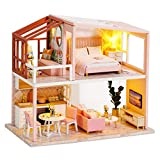 Dollhouse Miniature with Furniture,DIY 3D Wooden Doll House Kit Nordic Duplex Style Plus with Dust Cover and LED Lights,1:24 Scale Creative Room Idea Best Gift for Children Friend Lover