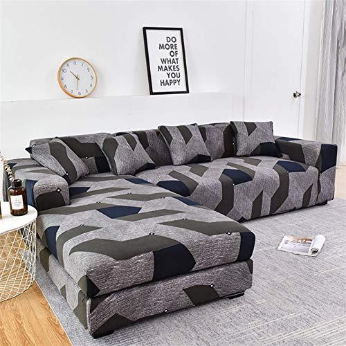 Cubierta de sofá Cubierta de sofá geométrico Cubierta de sofá elástica para sala de estar Mascacita de esquina L Configuración de chaise Longue Sofa Slupcover 1pc (Color: Color 5, Especificación: 4 pl