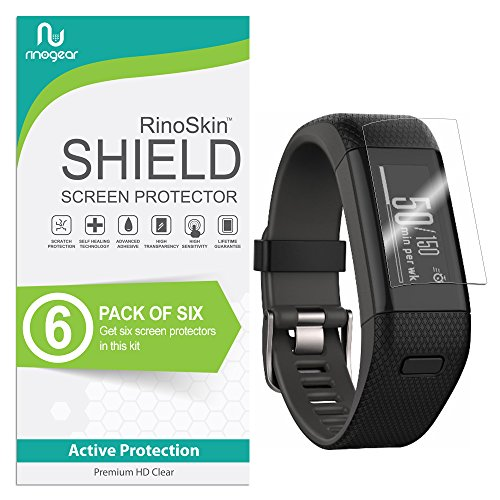 RinoGear (6-Pack) Screen Protector for Garmin Vivosmart HR Plus (Garmin Approach X40) Case Friendly Garmin Vivosmart HR Plus Screen Protector Accessory Full Coverage Clear Film