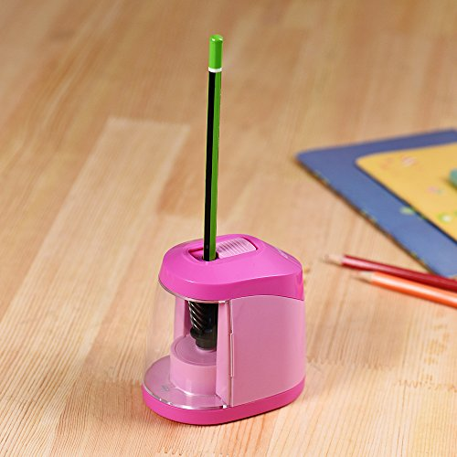 Decdeal Automatic Electric Pencil Sharpener Battery or USB Powered with 3 Graphite Point Tip Modes for Home School Classroom Student Artist Crafts Kids Pink