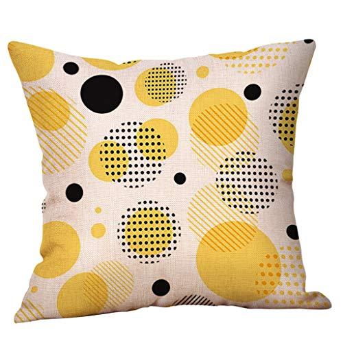 Vovotrade Kussensloop met mosterd geel, ananas, geometrisch patroon, herfst, decoratief katoen, linnen, voor slaapkamer, kantoor, auto, huis, decoratie, 45 x 45 cm