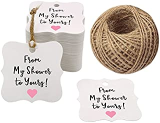 Original Design 100PCS Baby Shower Favor Tags,from My Shower to Yours Tags ! Paper Gift Tags Kraft Hang Tags with 100 Feet Natural Jute Twine