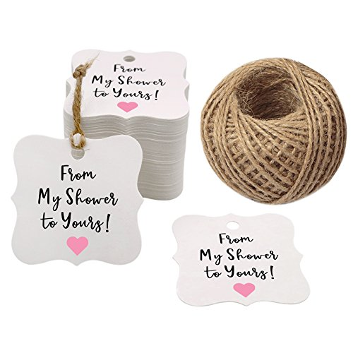 100PCS Baby Shower Favor Tags,from My Shower to Yours Tags ! Paper Gift Tags Kraft Hang Tags with 100 Feet Natural Jute Twine