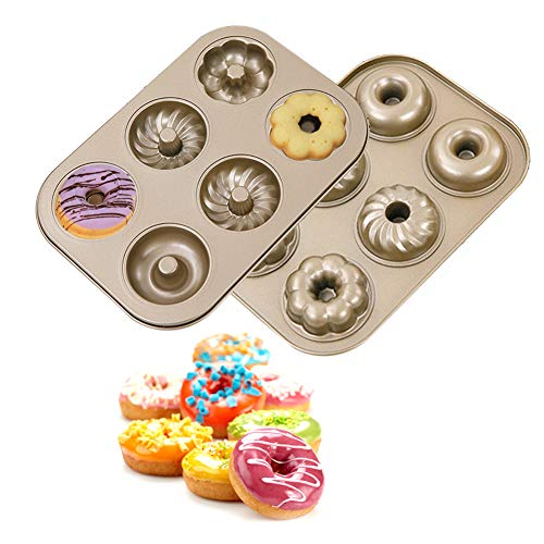 MANO Donut Pan for Baking Set of 2 Doughnuts Maker Mold Sheet Trays for Cookie, Muffin Bakeware Kit, 6 Cavity,pattern