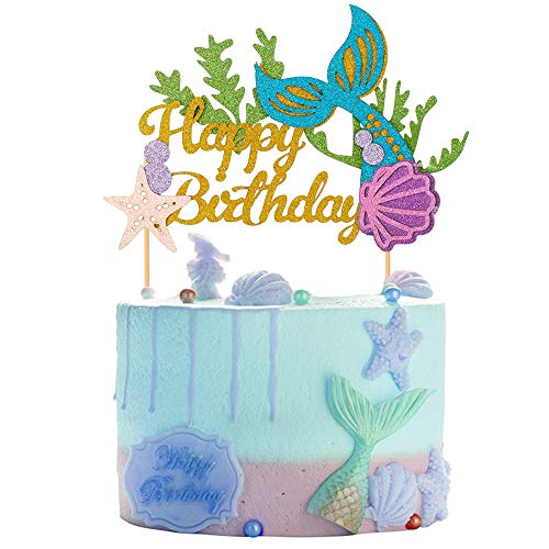 1 Set Glitter Mermaid Tail Themed Happy Birthday Cake Topper Cake Picks Decoration for Baby Shower Birthday Party Favors