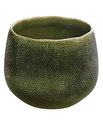 Dehner Blumentopf Linn, Ø 25 cm, Höhe 23 cm, Keramik, lasiert, dunkelgrün