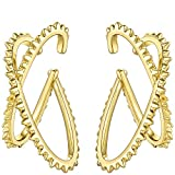 EF ENFASHION Punk Spike Cross Ear Cuffs Brass and Gold color Clip on Earrings for Women and Men