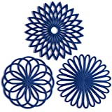 Set of 3 Silicone Trivet Mat - Hot Pot Holder Hot Pads for Table & Countertop - Trivet for Hot Dishes - Non-Slip & Heat Resistant Modern Kitchen Hot Pads for Pots & Pans, Navy Blue