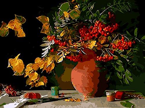 IPLST@ Senza cornice digitale dipinti ad olio da Numeri, Still Life tavolo vaso fiore pittura a olio su tela Arte Moderna decorazione casa, fai da te pittura a olio Kit -16x20inch