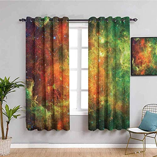 MXYHDZ Blackout Curtains for Bedroom - Color starry sky galaxy stars - 3D Print Pattern Eyelet Thermal Insulated - 86 x 85 inch - 90% Blackout Curtains for Kids Boys Girls Playroom