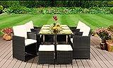 EIVD Juego de muebles de jardín de ratán, 10 plazas (color B)
