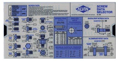 Alvin, 7355, Screw Data Selector in Slide Chart Design - 5 x 10 Inches